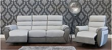 Ritz Reclining 3 + 1 Leather And Fabric Sofa Suite