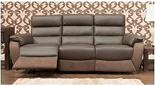 Ritz Reclining 3 Seater Leather And Fabric Sofa