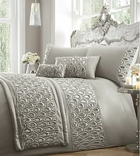 Ritz Sequined Diamante Embellished Silver Quilted