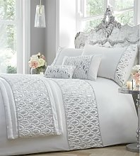 Ritz Sequined Diamante Embellished White Quilted