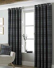 Riva Paoletti Aviemore Eyelet Curtains, Grey, 66 X