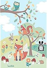 Riva Paoletti Kids Woodland Wall Art Mural - Green