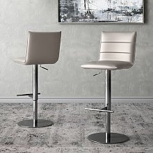 Riva Taupe Faux Leather Bar Stools In Pair