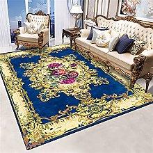 RJIANRA Rugs Living Room Large Blue Flowers 3D