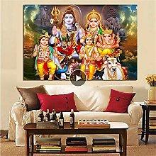 Rjjwai Shiva Parvati Ganesha Indian Art Hindu God