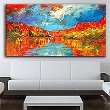 Rjjwai Wall Art Red Mountain Blue Sky Oil Painting