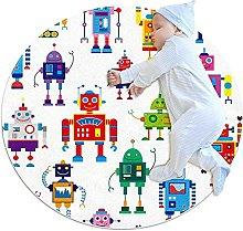 Robots, Kids Nursery Rug Play Mat Round Carpet