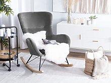 Rocking Chair Dark Grey Velvet Metal Legs Wooden