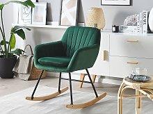 Rocking Chair Green Velvet Metal Legs Wooden