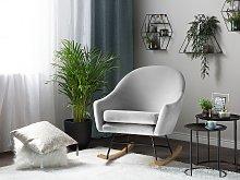 Rocking Chair Light Grey Velvet Light Wood Base Nursery Glam Modern Style