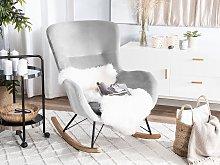 Rocking Chair Light Grey Velvet Metal Legs Wooden