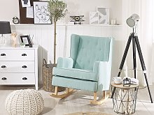 Rocking Chair Mint Green Fabric Solid Wooden