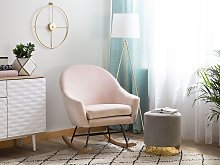 Rocking Chair Pink Velvet Light Wood Base Nursery Glam Modern Style
