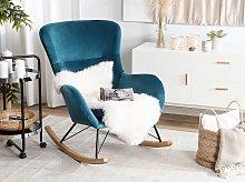 Rocking Chair Sea Blue Velvet Metal Legs Wooden