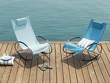 Rocking Sun Lounger Turquoise Blue Steel Runners