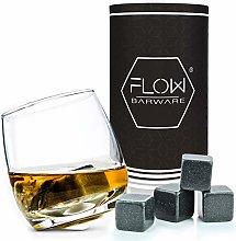 Rocking Whiskey Glass & Whisky Stones Set - A