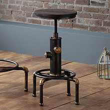Rockport Pipework Bar Stool In Brushed Copper And