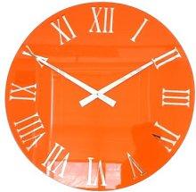 Roco Verre 3D Gloss Orange Roman Wall Clock (35cm