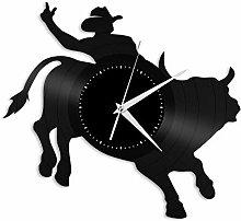 Rodeo Bull vinyl wall clock, vinyl record home
