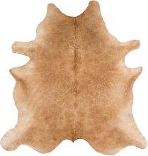 Rodeo Genuine Cowhide Rug in Solid Beige -