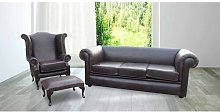 Roderica Chesterfield 3 Piece Leather Sofa Set