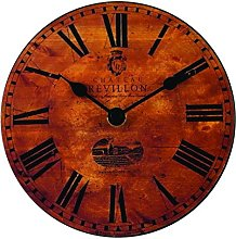 Roger Lascelles Clock, Wood, Brown, 15 x 4 x 15 cm