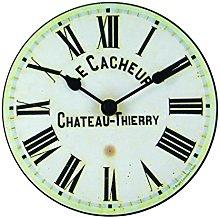 Roger Lascelles Clock, Wood, Cream, 15 x 4 x 15 cm