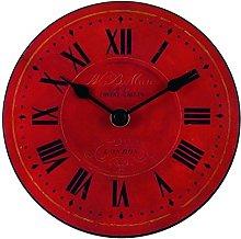 Roger Lascelles Clock, Wood, Red, 15 x 4 x 15 cm
