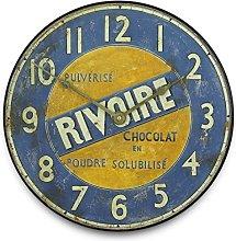 Roger Lascelles Wall Clock, Wood, Blue, 36 x 5 x