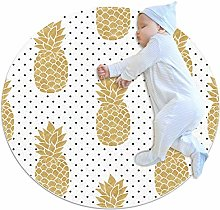 rogueDIV Gold Pineapples Large Baby Rug for