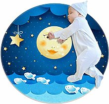 rogueDIV Moon And Stars Large Baby Rug for Nursery