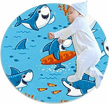 rogueDIV Shark Surfing Large Baby Rug for Nursery
