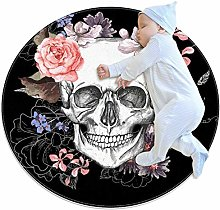 rogueDIV Skull And Flowers Large Baby Rug for