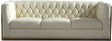 Rolando 3 Seater Chesterfield Sofa Canora Grey