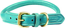 Rolled Leather Dog Collar (L) (Teal) - Weatherbeeta
