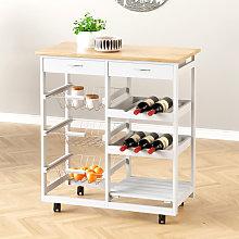 Rolling Kitchen Cart Storage Cabinet Trolley Wood