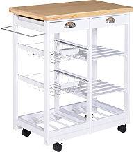 Rolling Kitchen Island Trolley Cart Drawer w/ 6