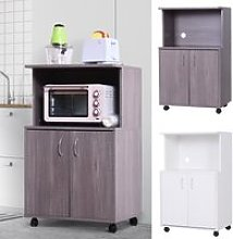 Rolling Kitchen Trolley 2-Door Storage Cabinet