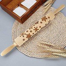 Rolling Pin,3D Flower Pattern Wooden Roll Pin