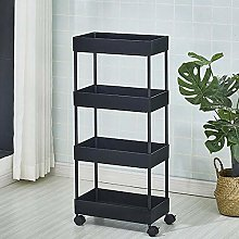 Rolling Trolley Storage Unit with 4 Shelves for