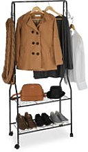 Rolling Wardrobe Stand with 2 Tiers for Shoes,