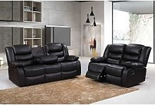 Roma 3+2 Seater Leather Recliner Sofas in Black