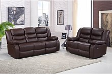 Roma 3+2 Seater Leather Recliner Sofas in Brown