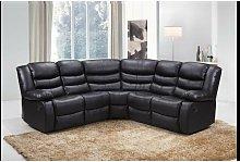 Roma Corner Leather Recliner Sofa in Black
