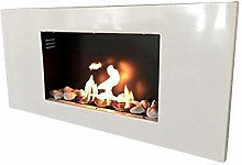 Roma gel fireplace in white with 12decorative
