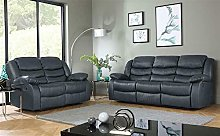 Roma Leather Recliner Sofa 3+2 in Grey/Black/Brown