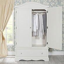 Romance Antique White Wardrobe with deep drawer