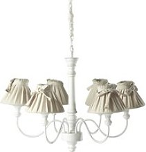 ROMANCE wood and cotton 6 branch chandelier in