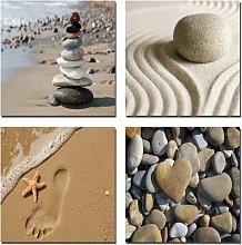 Romantic Beach Theme 4 Piece Modern Giclee Artwork