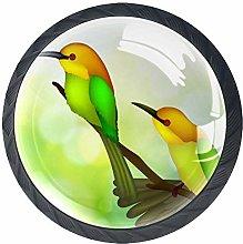 Romantic Bird Green 4 Pieces Crystal Glass